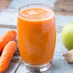 Jus de carotte, pomme, gingembre
